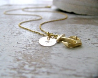 Anchor Necklace 14k Gold Filled Initial Necklace Custom Letter Anchor Jewelry Initial Necklace Hand Stamped Disc Beach Jewelry Bridesmaids