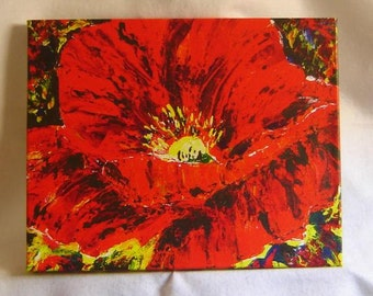 Poppy flower - Original painting - Palette Knife Art - Acrylic painting - Floral Art - Abstract art in red - Reproduction Canvas Print- Art.