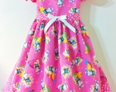Smurfette Handmade Size 3T Little Girls Spring and Summer Dress with Butterfly Sleeves