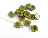 6 x 14mm Olive Green Picasso Square Table Cut Czech Glass Beads, Green Square Beads, Green Czech Beads, Geometric Beads SQU0011
