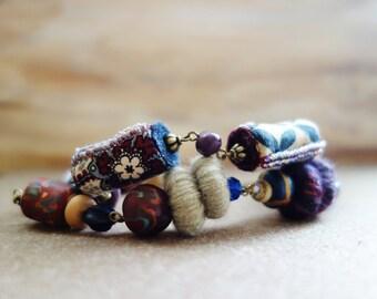 Burgundy Textile Bracelet. Double Strand Chunky Fibre Bracelet. Maroon, Navy, Beige Fiber Bracelet. Polymer Clay, Yarn, Fabric Beads.