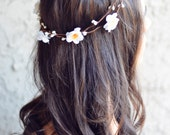 THE LINNEA - Hawaiian White Halo Crown Double Vine Flower Girl Festival Hair Jewelry Accessories Boho Floral Crown Spring Summer Coachella