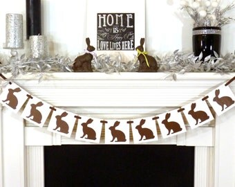 Happy Easter Decoration / Chocolate Bunnies Banner / Easter Banner / Easter Garland / Bunny Decor Banner / Easter Photo Prop