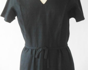 Vintage 1950's Little Black Dress, Silk,  Size M