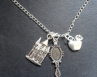 Princess Inspired Charm Necklace - Castle, Mirror and Apple