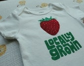 Strawberry locally grown baby bodysuit