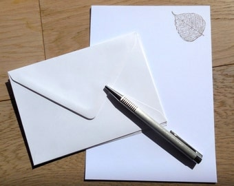 hand stamped stationery set, letter writing set, personalized paper set, silver, grey leaf