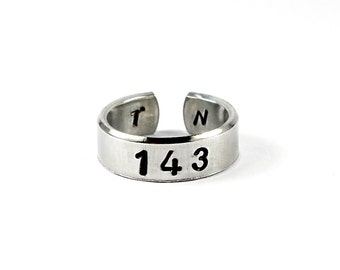 143 with Two Initials Ring, Aluminum I Love You Initials Ring, Personalized Love Jewelry, Lovers Girlfriend Gift, Numerical Love