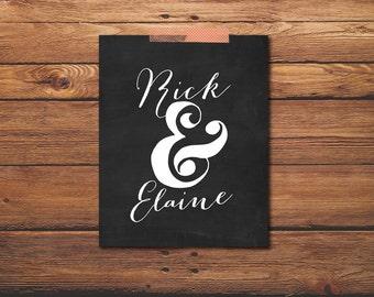 Custom Wedding Print - Mr And Mrs Print - Wedding Quote - Chalkboard Wedding Decor - Wall Art - Ampersand Sign - Custom Design