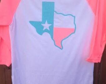 Texas Neon Heather Pink Raglan Glitter Texas Shirt--Size S,M, L,XL