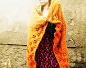 Hand Knitted Blanket - Orange Circular Blanket - Large Shawl Blanket - Orange Knitted Throw - Festival Blanket