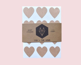 144 Brown Kraft Heart Sticker