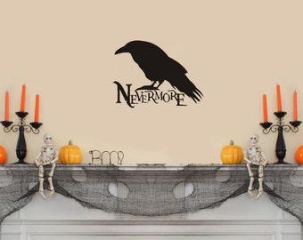 """Nevermore -Edgar Allen Poe Wall Decal-(15"""" X 10"""")"""