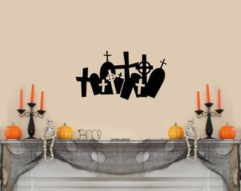 "Halloween Wall Decal of Graveyard, Cememtery,Tombstones (22""w x 12""h)"