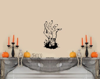 "Scary Zombie Hand Halloween Wall Decal Black 10""x 16"""