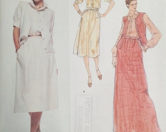 Vogue 1672 Calvin Klein Shirt Vest and Skirt 1970s Pattern Size 10 Bust 32.5 UNCUT