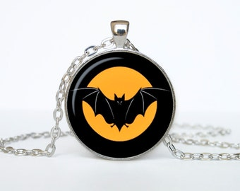 Halloween necklace Trick or Treat Halloween Pendant Halloween  jewelry black orange brown