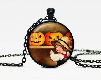 Halloween pumpkin necklace Trick or Treat Halloween Pendant Halloween  jewelry black orange brown