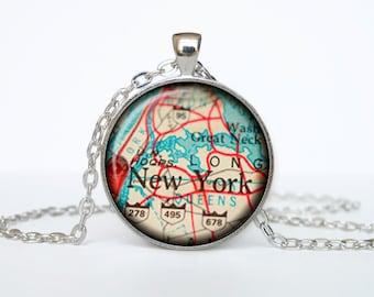 New York map pendant, New York map necklace, New York map jewelry, New York