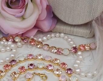 PINK LEMONADE 8mm Genuine Swarovski Crystal Necklace