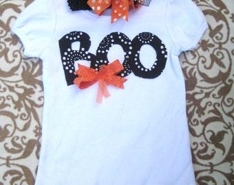 Boo Halloween Shirt & Hair Bow Set for Girls, Halloween Outfit for girls, cute Halloween top/Girls Halloween shirt/BOO girls shirt,