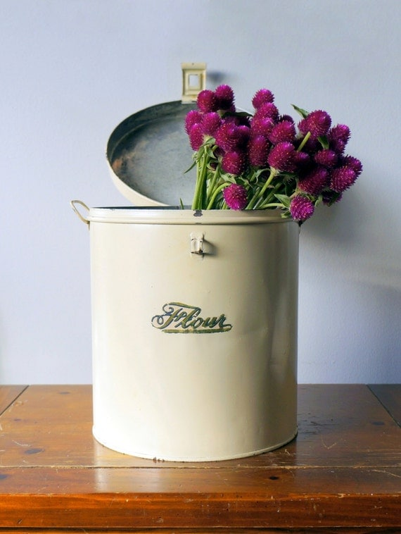large vintage flour tin canister by kreamer retro