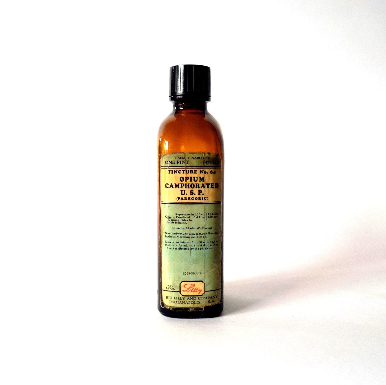 C 1950 S Opium Tincture Amber Bottle Pharmacy