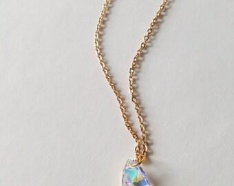 Aurora Borealis Swarovski Crystal Pendant Gold Necklace