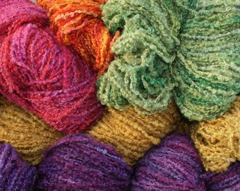 12 ply Wool and Mohair Boucle yarn, 100 gram skeins