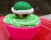 turtle shell cupcake toppers, mario inspired cupcake toppers, cake toppers