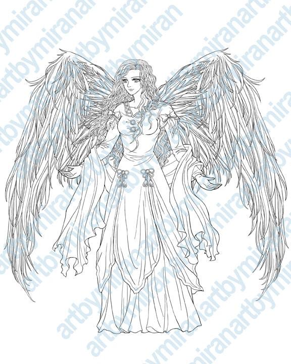 Digital Stamp Archangel Printable Coloring Page Angel