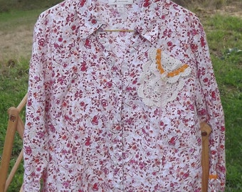 Upcycled Linen Rose Floral Print Top Shirt ~Cottage Chic Boho~Eco Fashion With Dyed Ribbon Rose and Vintage Lace