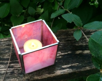 Rose Pink Stained Glass Votive Candle Holder