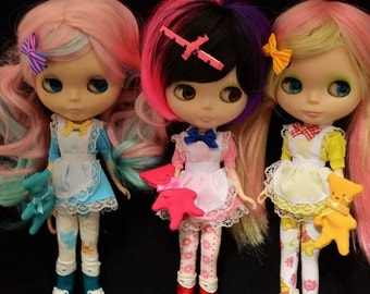 SET OF 3 Pink Blue Yellow maid Dresses for Blythe and Pullip Dolls