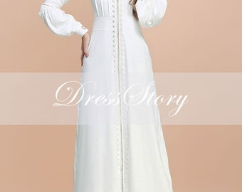 Shirtwaist White Maxi Dress With Lace Details And Bishop
