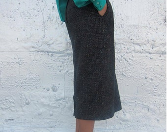Vintage Tweed Pencil Skirt with Button Detail at Back