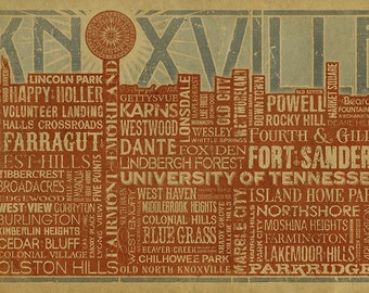 Knoxville Skyline Typography Poster. 12x18. Kraft paper. TN. Tennessee. Downtown. Art. Print