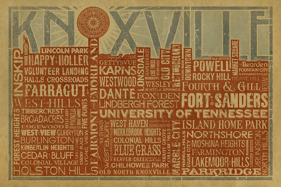 Knoxville Skyline Typography Poster 12x18 Kraft Paper TN