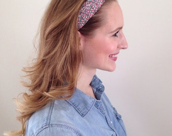 Floral Headband knotted in dainty and delicate floral print bright pink, green, white