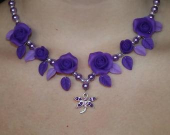 SALE 30% Polymer clay jewelry. Handmade polymer clay flower necklace.