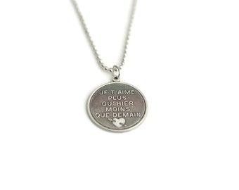 Je T'Aime French Love Necklace - Je T'aime Silver Plated Charm Love Necklace with Ball Chain