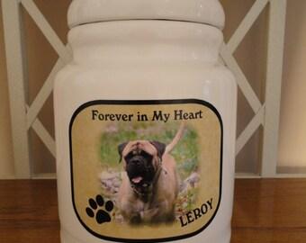 "Dog Urn, Memorial, Pet Urn, ""Personalized"", Dog, Pet, Photo Urn, Add Photo, Poem, Clipart, Name, Dates, Sentiment."