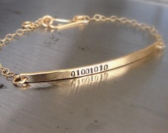 Gold Initial Bracelet - 14k Gold Nameplate Bracelet - Personalized Gold Bar Bracelet - Geek Jewelry - Gold ID Bracelet