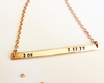Nameplate Necklace - Rose Gold Personalized Necklace - Name and Date Bar Necklace - Custom Stamped Necklace - Save the Date