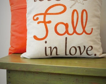 Fall Pillow Cover, Lets Fall In Love, Fall Decor
