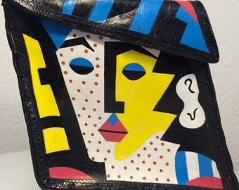 FREE SHIPPING  1980's Mille Fiori Hand Painted Handbag