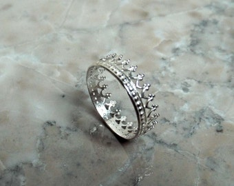 Limited time sale! SILVER TIARA RING and bonus stacker ring set. sterling silver crown ring Romantic statement ring gift for her under 30
