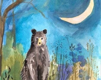 Bear with Moon and Stars -- original painting in gouache and ink -- children's art -- nursery art -- wildlife art -- night scene