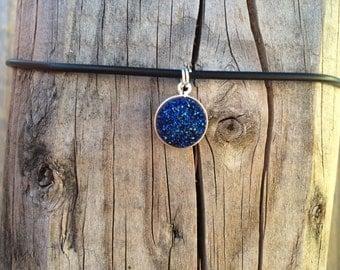 blue druzy crystal choker