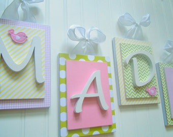 Nursery letters, pink nursery letters, Pink and Green Nursery Decor, Bird Nursery, Penelope Bedding Match, Girls Nursery Ideas, Baby Girl
